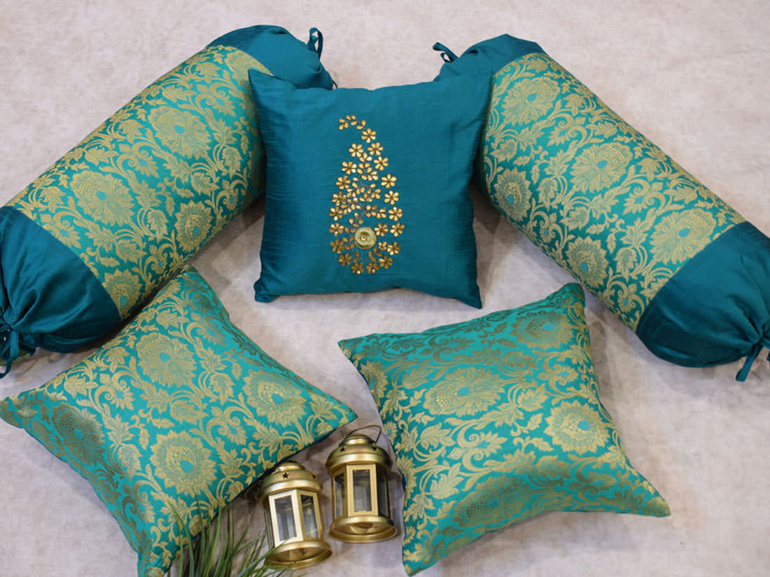 Turquoise Green and Golden Brocade cushion covers