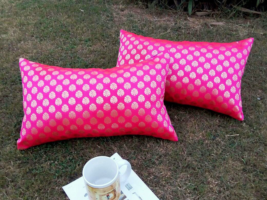 HOT PINK & GOLDEN' Long Brocade cushion covers