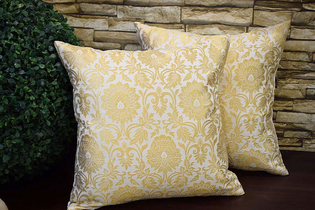 Classic White and Golden Brocade cushion covers