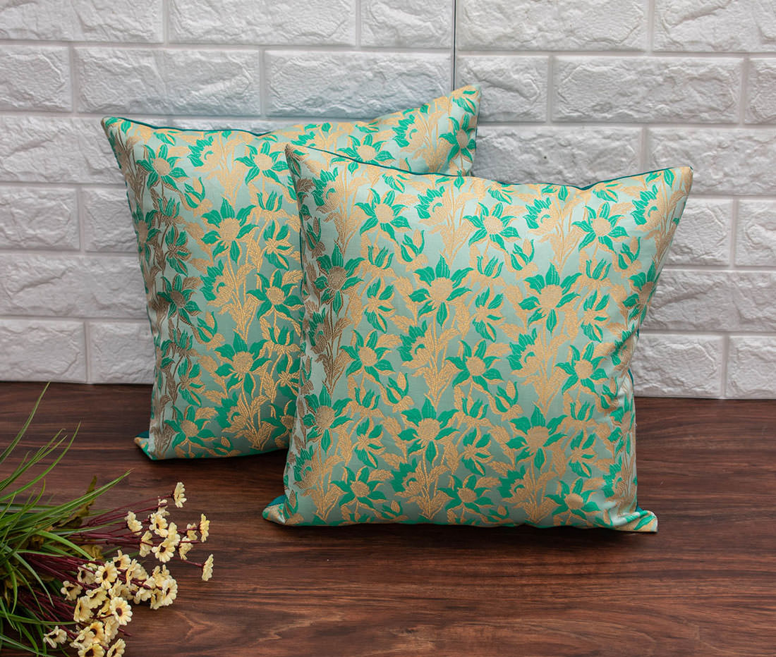 Sea Green Bageecha Floral Brocade Silk Cushion Covers - Royal Deco  Furnishing