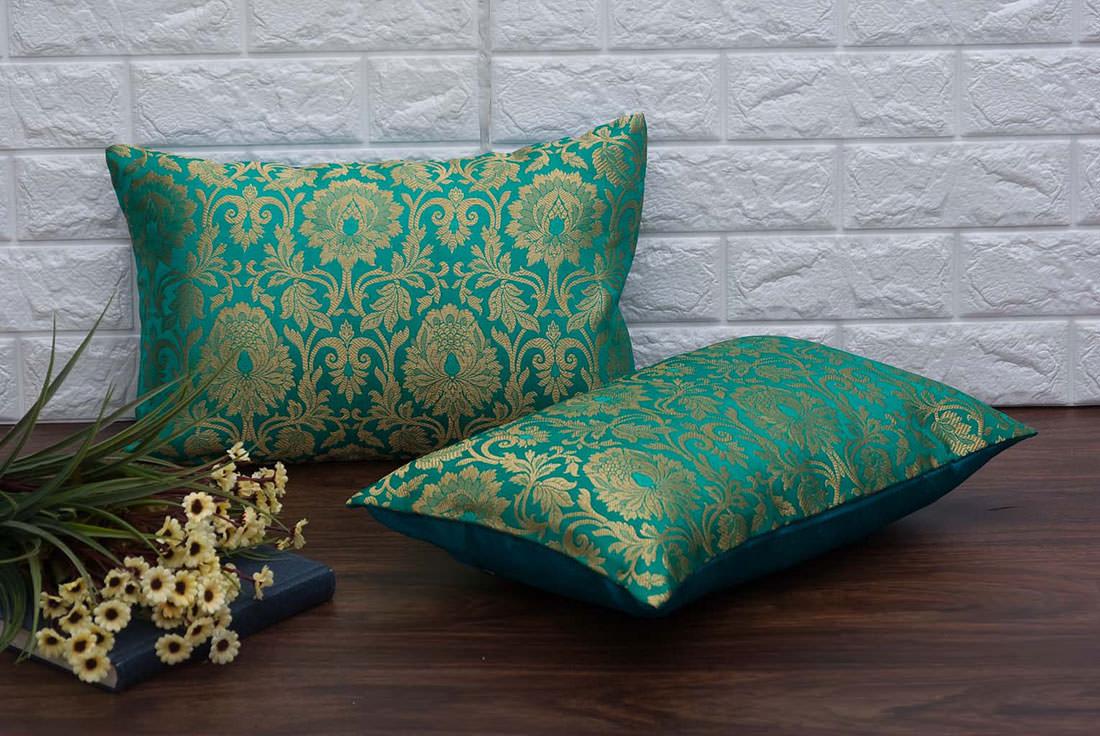 MUGHAL BANARASI Brocade Silk Classic Design With Floral Effect Long  Rectangular Cushion Covers (Green & Golden) - Royal Deco Furnishing